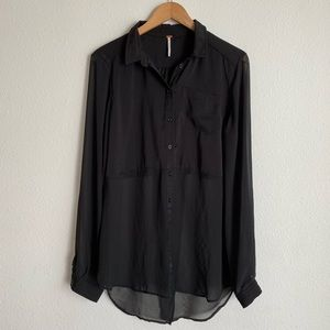 Free People long sleeve sheer bottom button down